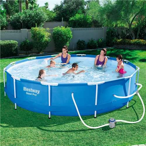 The 10 Bestway Pool Review of 2019 - Bestway Steel Pro 12 x 12 Foot Frame Above Ground Swimming Pool
