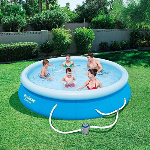 "The 10 Bestway Pool Review of 2019 - Bestway 12' x 30"" Fast Set Above Ground Swimming Pool"