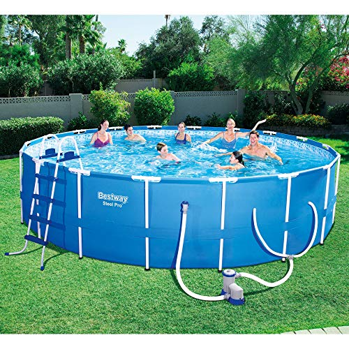 "The 10 Bestway Pool Review of 2019 - Steel Pro 18' x 48"" Frame Pool Set"